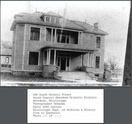 L. E. Roberts House. early 20th Century from South Central Aberdeen Historic District NRN on MDAH HRI accessed 4-13-2016