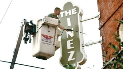 Photo by Donna Campbell-Jerry Bates with Gator Signs recently installed an LED retro-type sign at The Inez in downtown Brookhaven