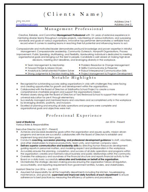 Management Professional Resume Sample