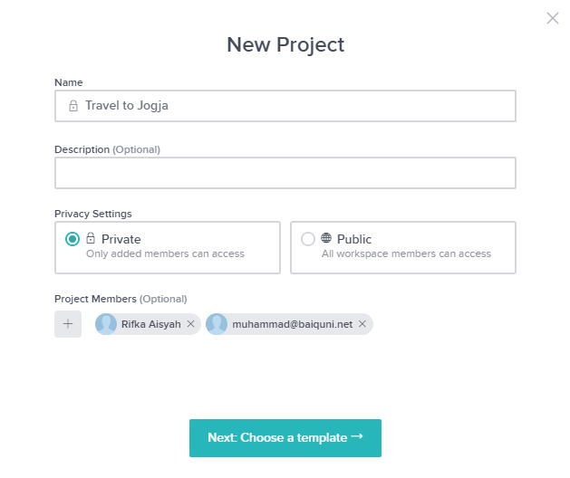 Create new project in Taskworld