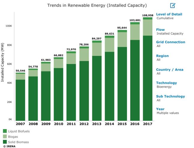 World Installed Capacity of Bio Energy