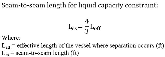Seam-to-seam length for liquid capacity constraint