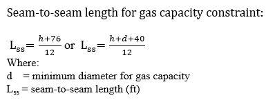 Seam-to-seam length for gas capacity constraint