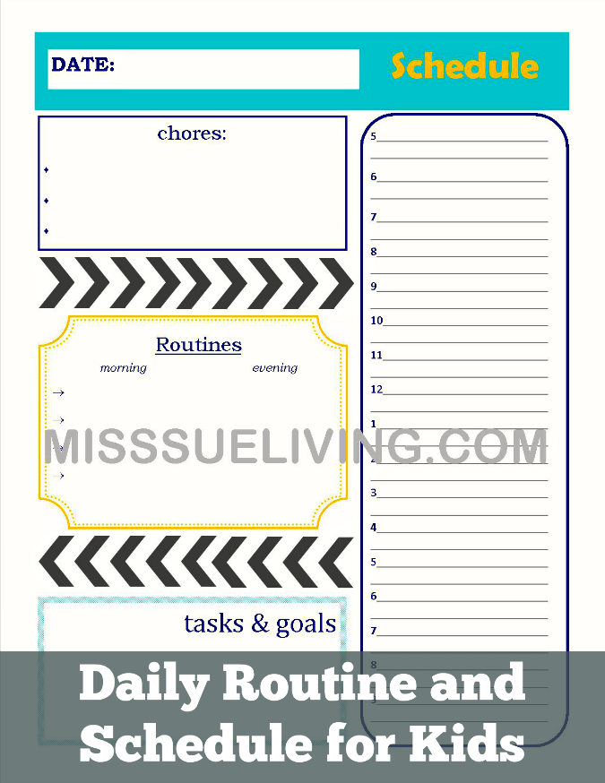 Daily Routine And Schedule For Kids Miss Sue Living