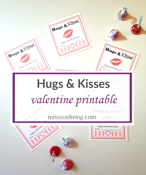 Hugs and kisses valentine printable