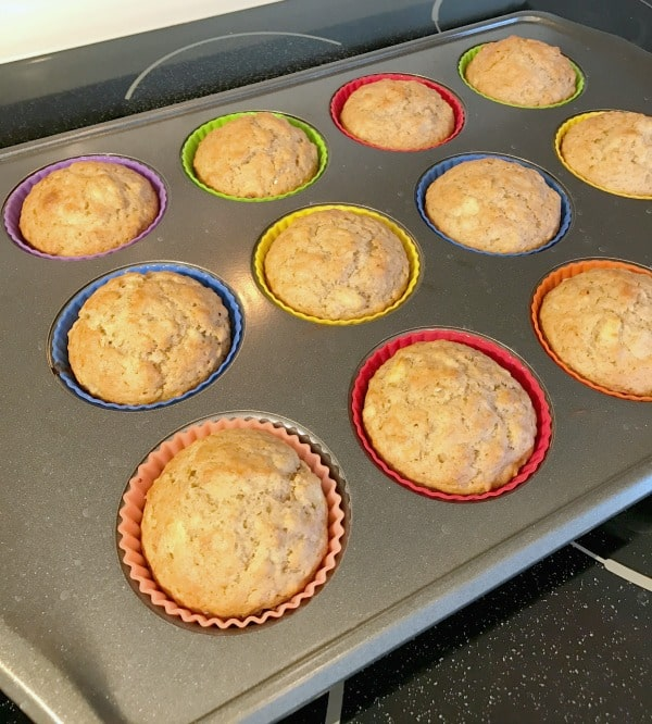 Quick Banana oat muffins cooked