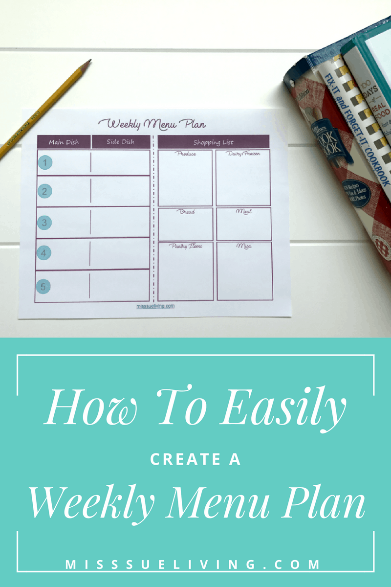 how to easily create a weekly menu plan miss sue living