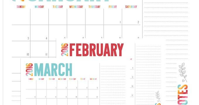 NEW 2016 Colorful Calendars + FREE Printables