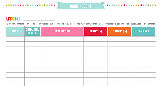 FREE Bank Record Planner Printables