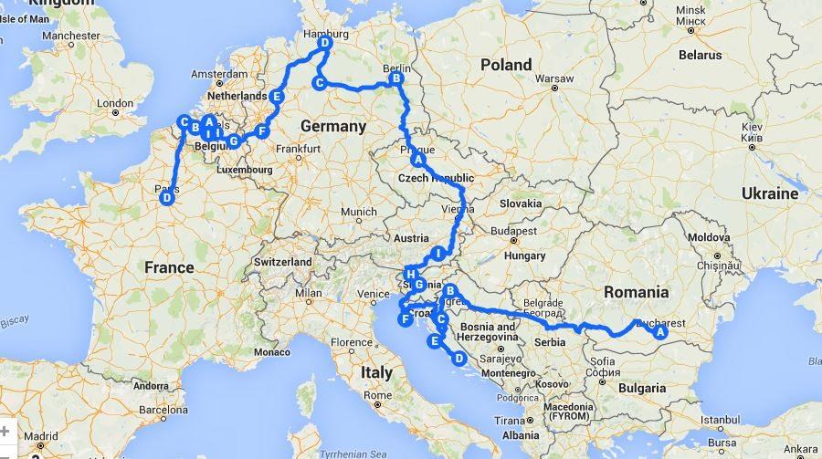 Map Eurail Trip 30 Days