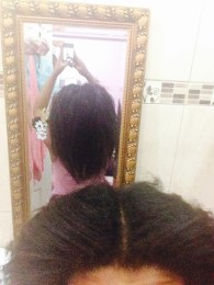 Back View of my airdried hair : I sectioned my hair in four sections and began styling.