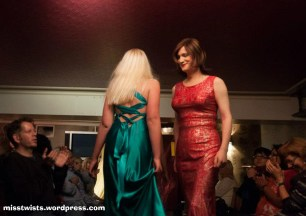 I think this captures the *moment* the guy on the left has figured me out... :) (Dress by Psychomoda; photo by Reverine Photography.)