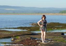 Prancing around rock pools at Dunbar...