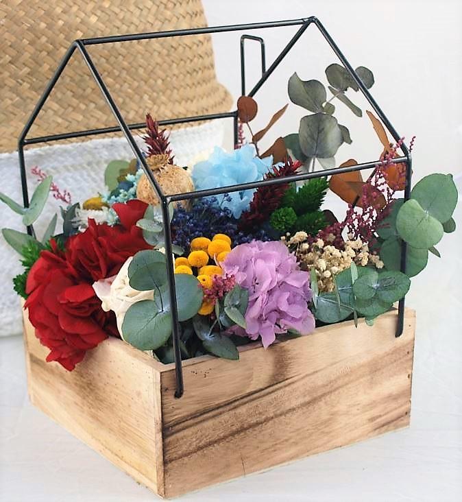 Centro casa flores preservadas