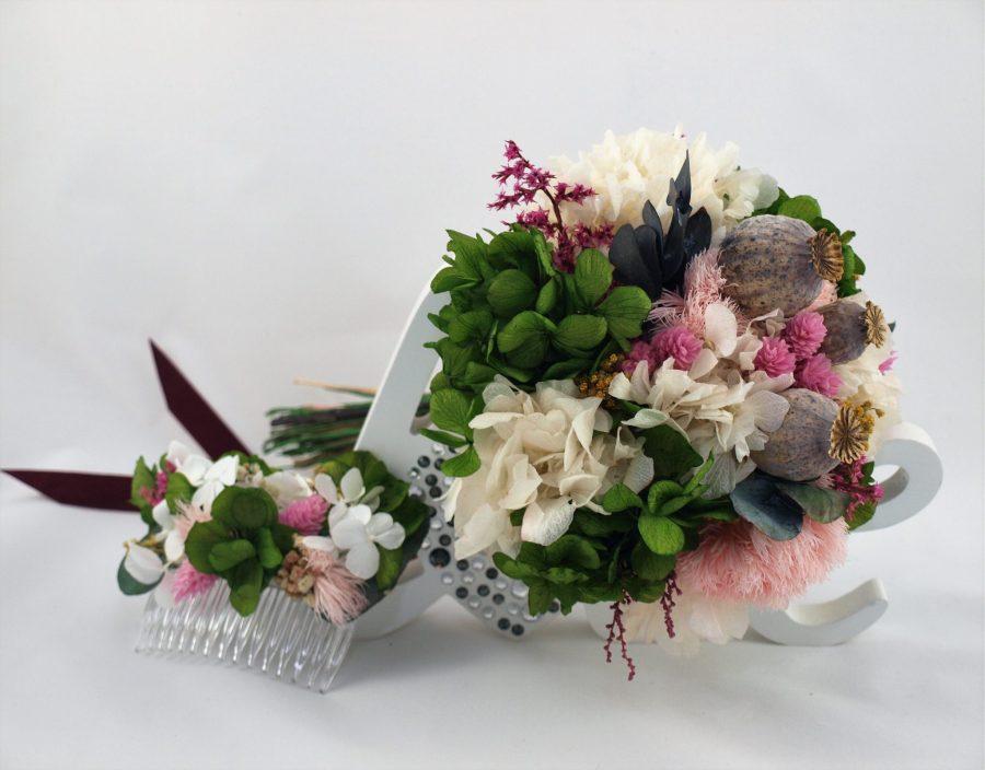Ramo de novia flores preservadas Senda peina a juego 2
