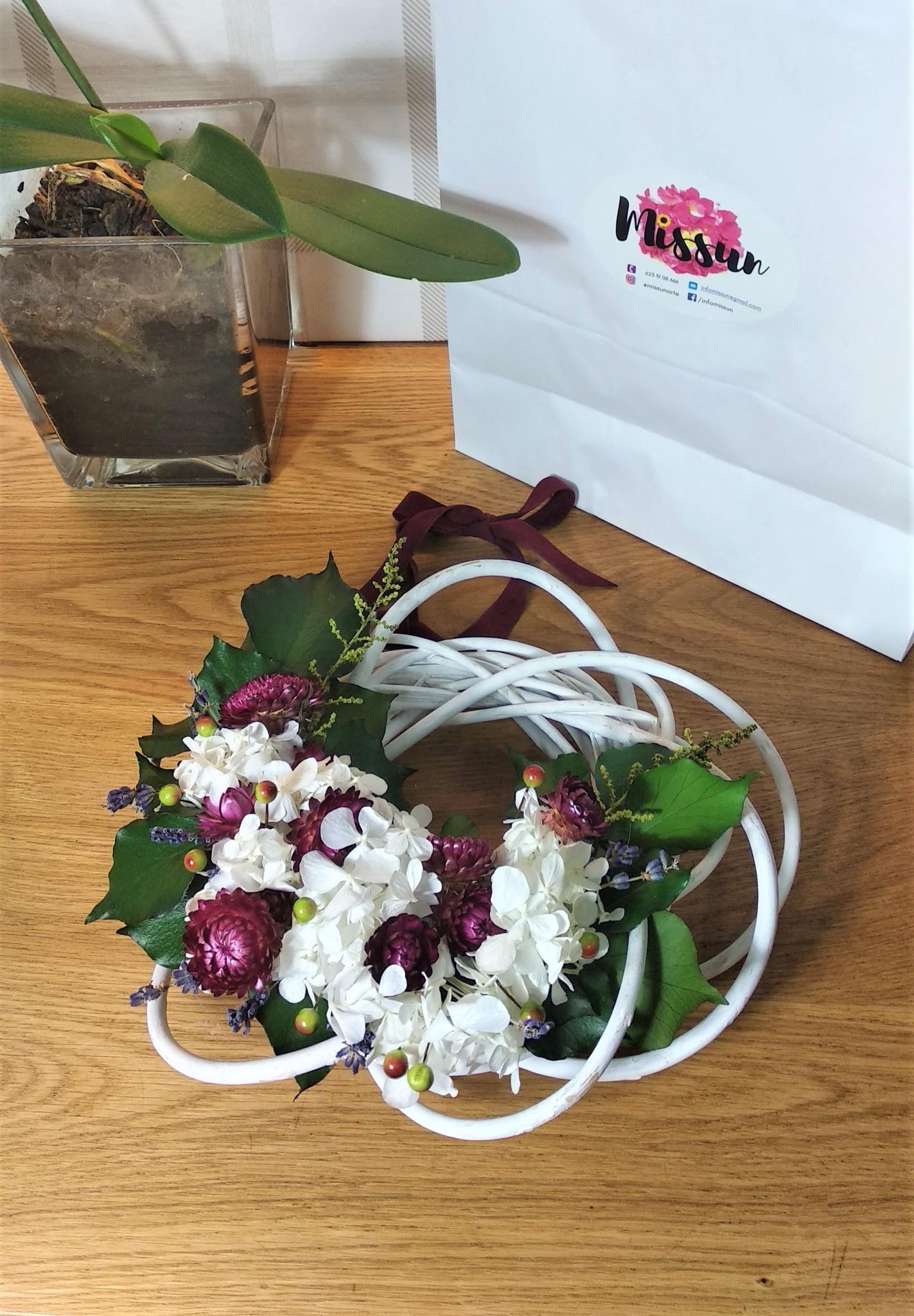 flor natural preservada corona decorativa