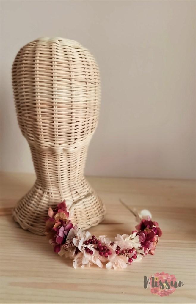 Diadema en flor preservada
