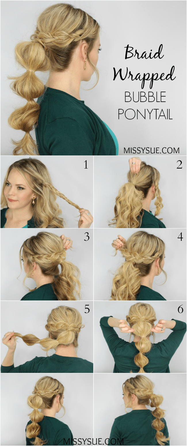 Braid Wrapped Bubble Ponytail