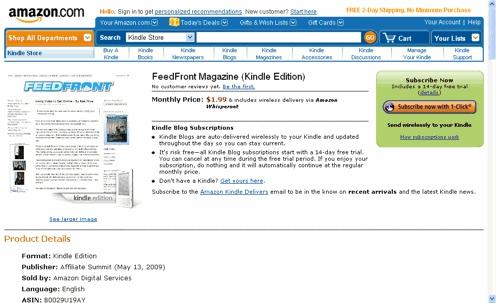 Feedfront Magazine on Kindle