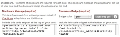 Social Spark Disclosure Badge and Message