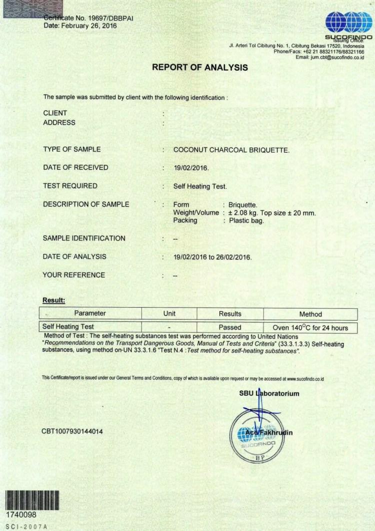 Contoh Certificate of Analysist ( COA ) - Mister Exportir