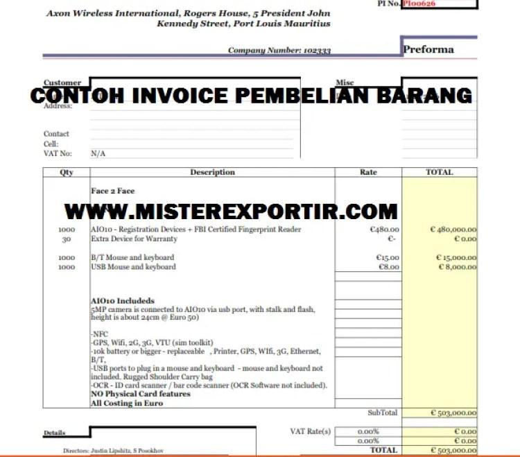 Contoh Invoice Pembelian Barang paling sederhana