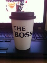 "coffee mug with ""The Boss"""