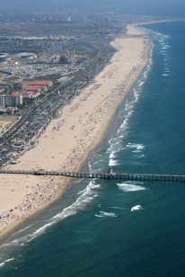 aerial of crowded beach