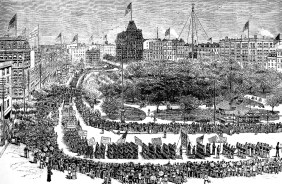 line drawing of Labor Day parade