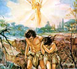 Adam and Eve beingin banished from the garden