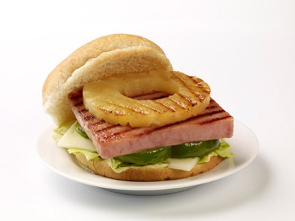 A Spam burger with pineapple ring