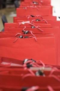 tow of red gift bags