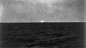FILE -- An iceberg, presumed to be the one that was struck by the RMS Titanic, is pictured from the deck of the RMS Carpathia on April 15, 1912. The largest ship afloat at the time, the Titanic sank in the north Atlantic Ocean on April 15, 1912, after colliding with an iceberg during her maiden voyage from Southampton to New York City. (The New York Times) -- STAND ALONE IMAGE FOR USE AS DESIRED WITH THE 100TH ANNIVERSARY OF THE TITANIC SINKING --