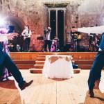 groomsmen dancing to a wedding band