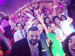 wedding band selfie in a marquee