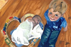 Watercolor portrait of a boy and a baby by Laura Newquist
