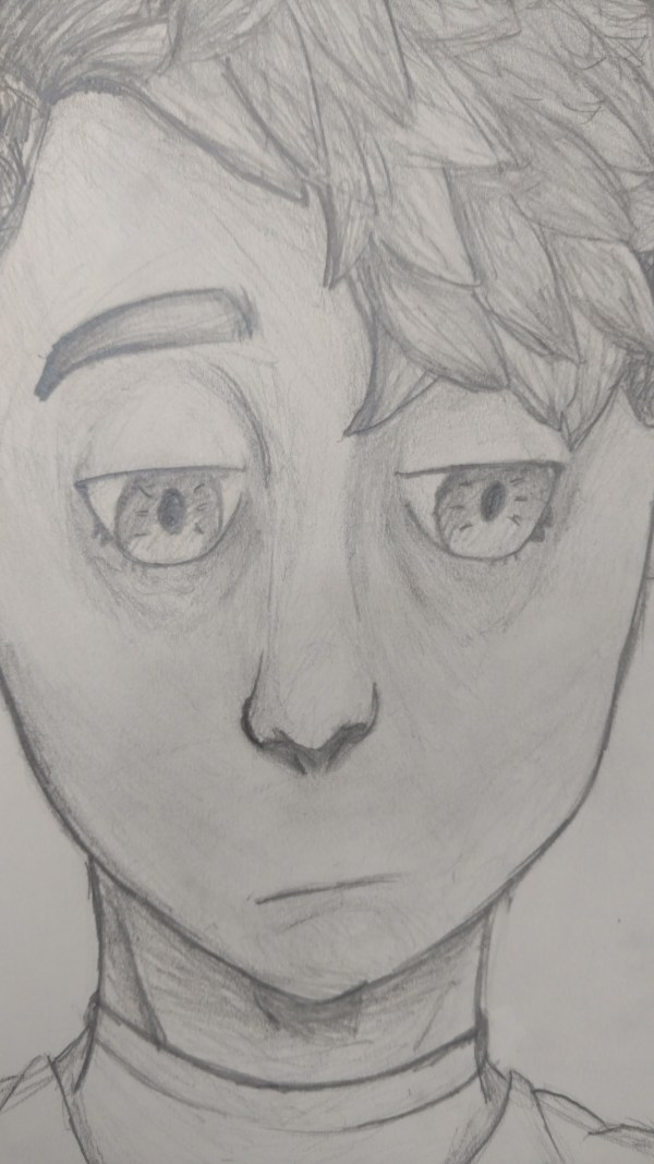 Boy's self portrait in graphite pencil