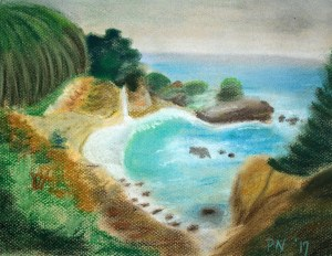 Chalk pastel drawing of a beach cove