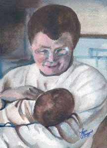 Watercolor portrait of a father holding his new baby boy