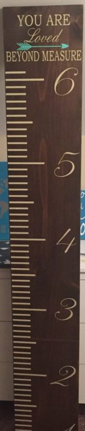 "Christine's Vinyl Creations Growth chart 11 1/2"" by 6' stained dark walnut with beige and mint vinyl designs"