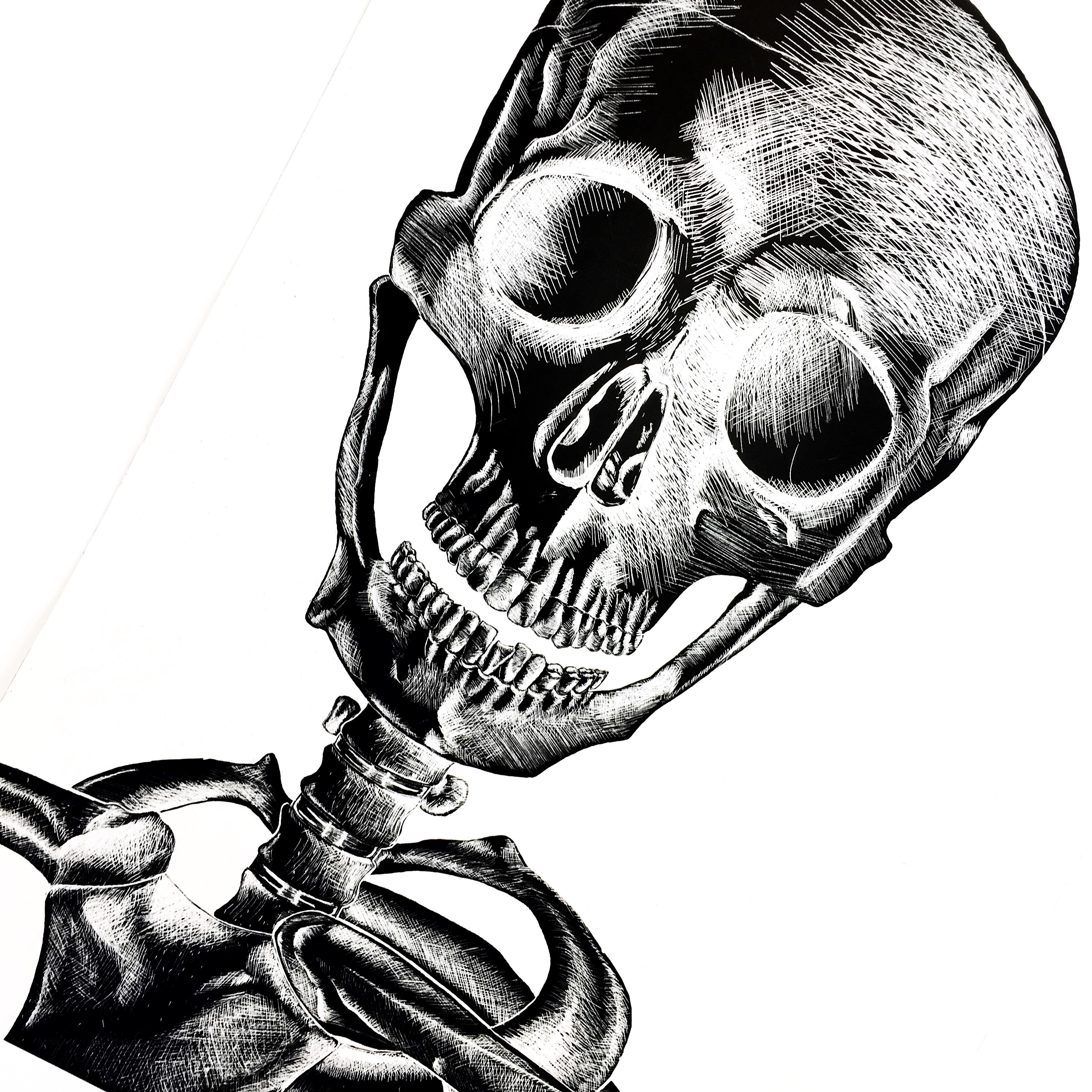 Scratchboard Skull Study: Adventures in Reverse-Drawing