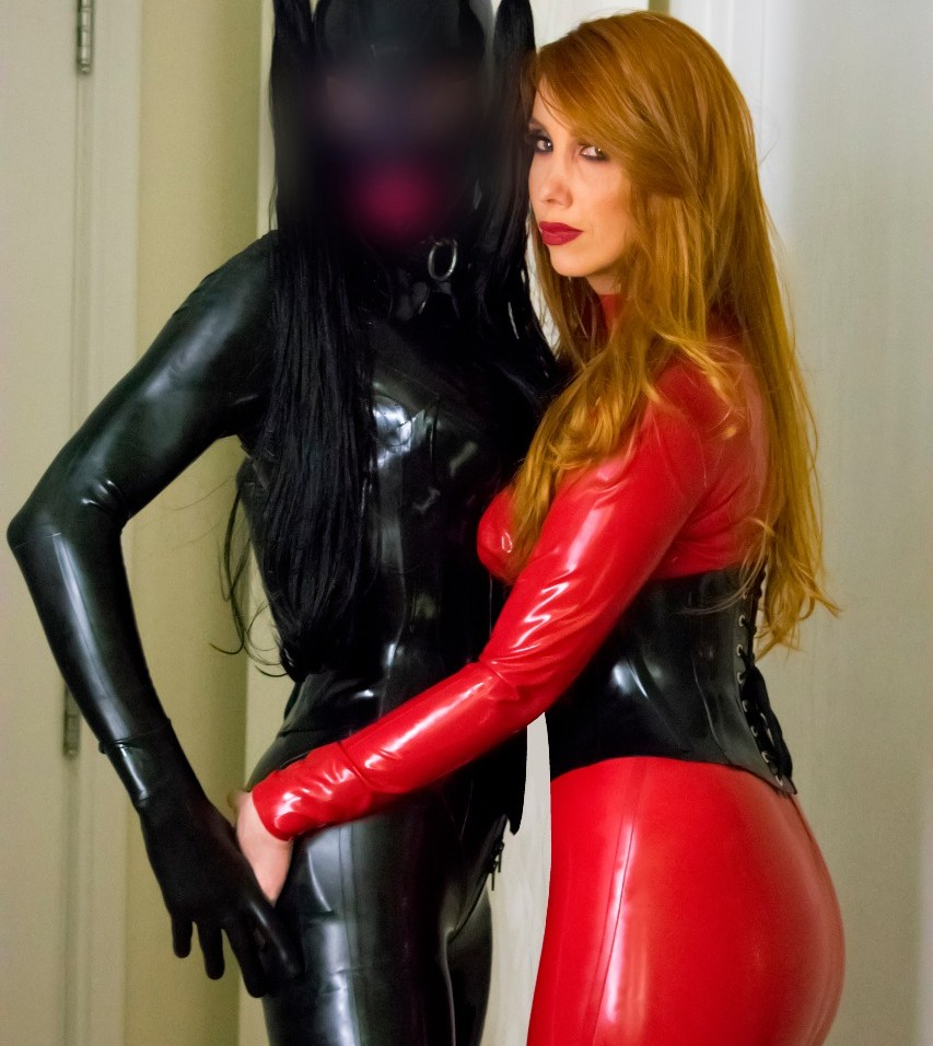 sexy latex mistress and rubber doll
