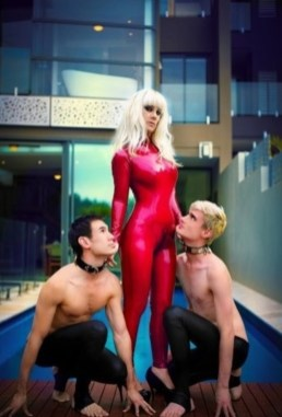mistress serena and subs red catsuit