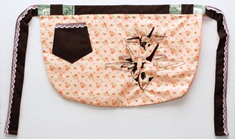 Domesticated: Apron; Hand Embroidered Fabric by Amanda K Gross