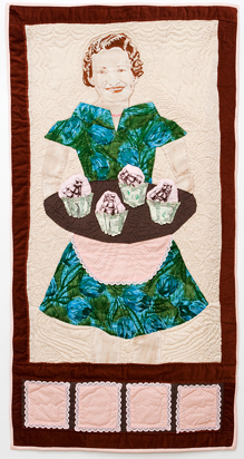 Domesticated: Cupcakes; Hand Embroidered and Quilted Fabric and US Currency by Amanda K Gross