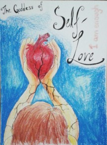 The Goddess of Self-Love; Ink & Colored Pencil on Paper by Amanda K Gross