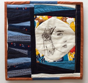 Daisy, Framed; Hand Embroidered Machine quilted by Amanda K Gross