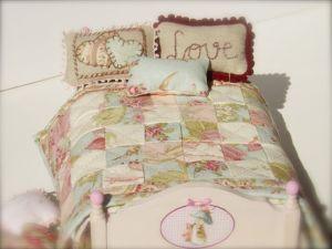 Colcha de patchwork para casas de muñecas
