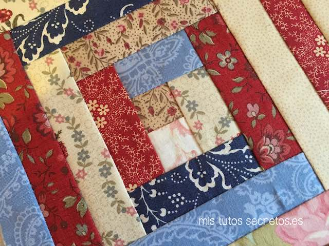 T cnica log cabin de patchwork mis tutos secretos - Labores de patchwork paso a paso ...