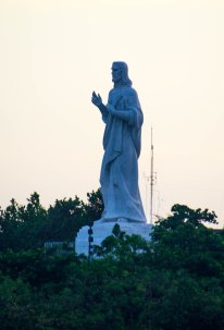 Statue of Christ welcomes ships to port.